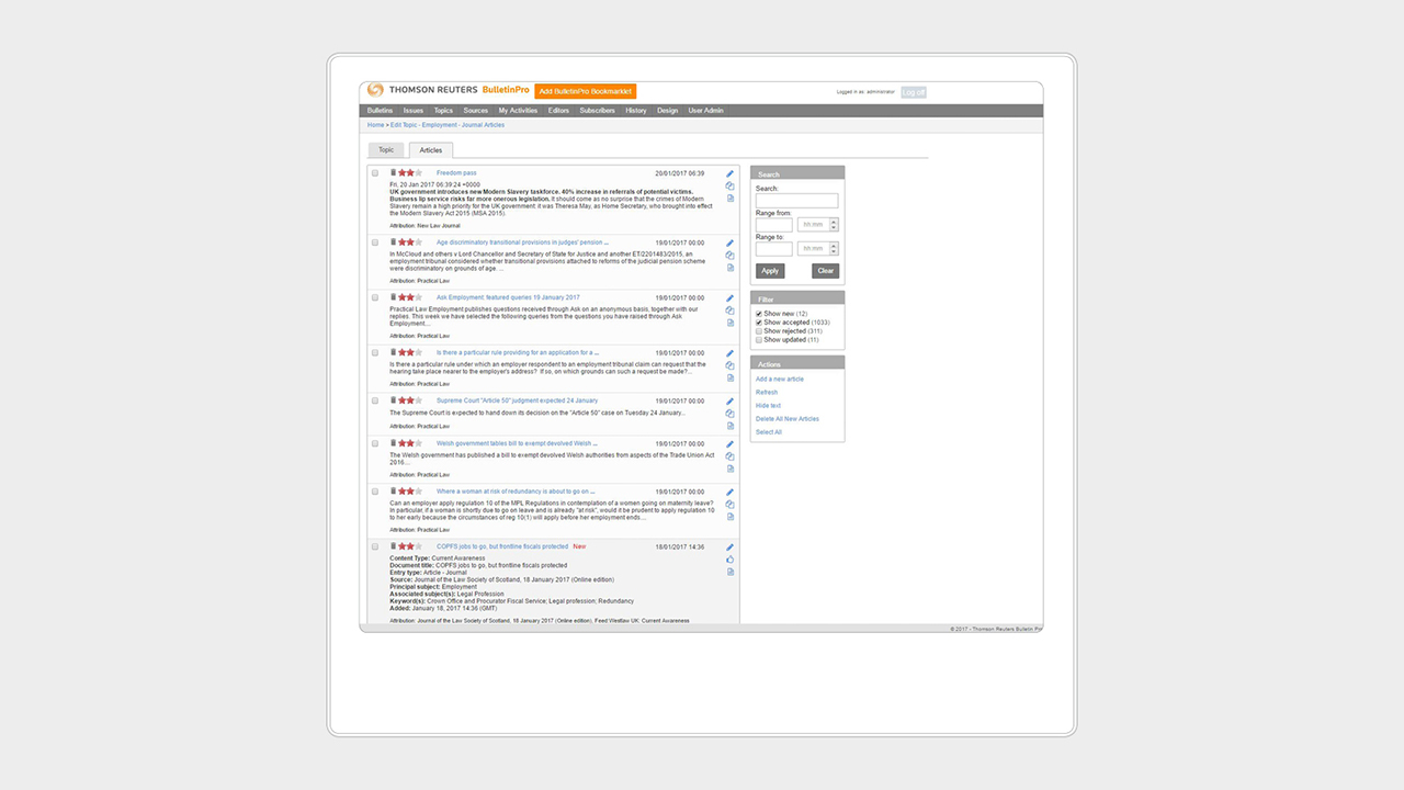 A screenshot of the employment journal articles page on legal alerts software Bulletin Pro