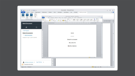 A screenshot showing legal document analysis & review within drafting assistant