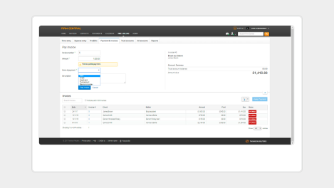 Firm Central screenshot - Invoice payments - Time and billing