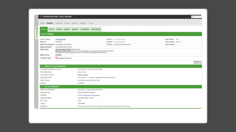 A screenshot of the matters profile screen on in-house matter management tool Legal Tracker