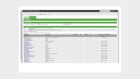 A screenshot of the report builder feature of legal department management software Legal Tracker