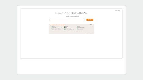 Solcara Legal Search homepage screenshot  - legal federated search software