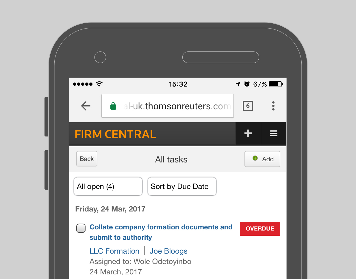 Firm Central - Mobile Capabilities - Tasks